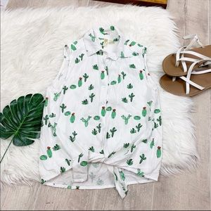 Japna Tie Hem Cactus Printed Sleeveless Top D1183